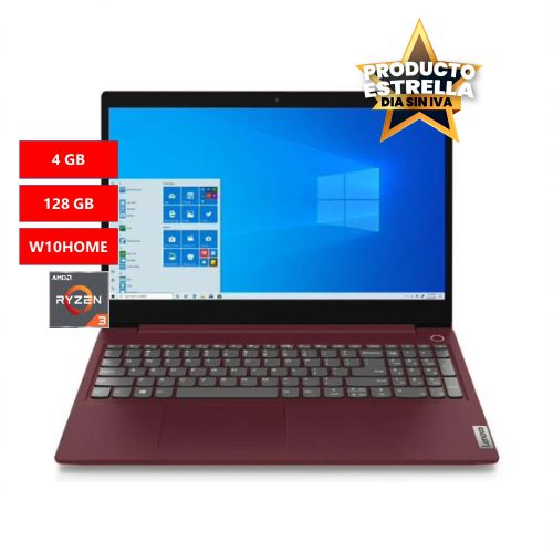 LENOVO PORTATIL IDEAPAD 3 RYZEN 3 4GB 128 GB WIN10HOME CHERRY RED-81W400C9LM Día sin IVA